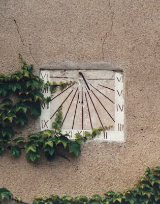 Sundial being threaten by vegetation