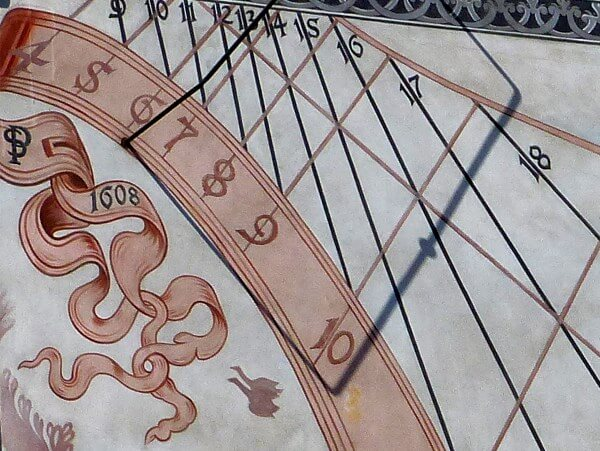 Detail of a vertical sundial