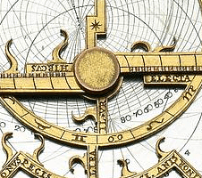 Detail of a modern astrolabe in copper, from 1920