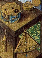 Detail showing a quadrant astrolabe and sundials