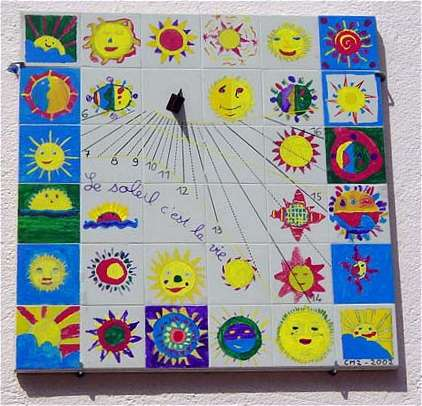 Sundials made by children of a middle school